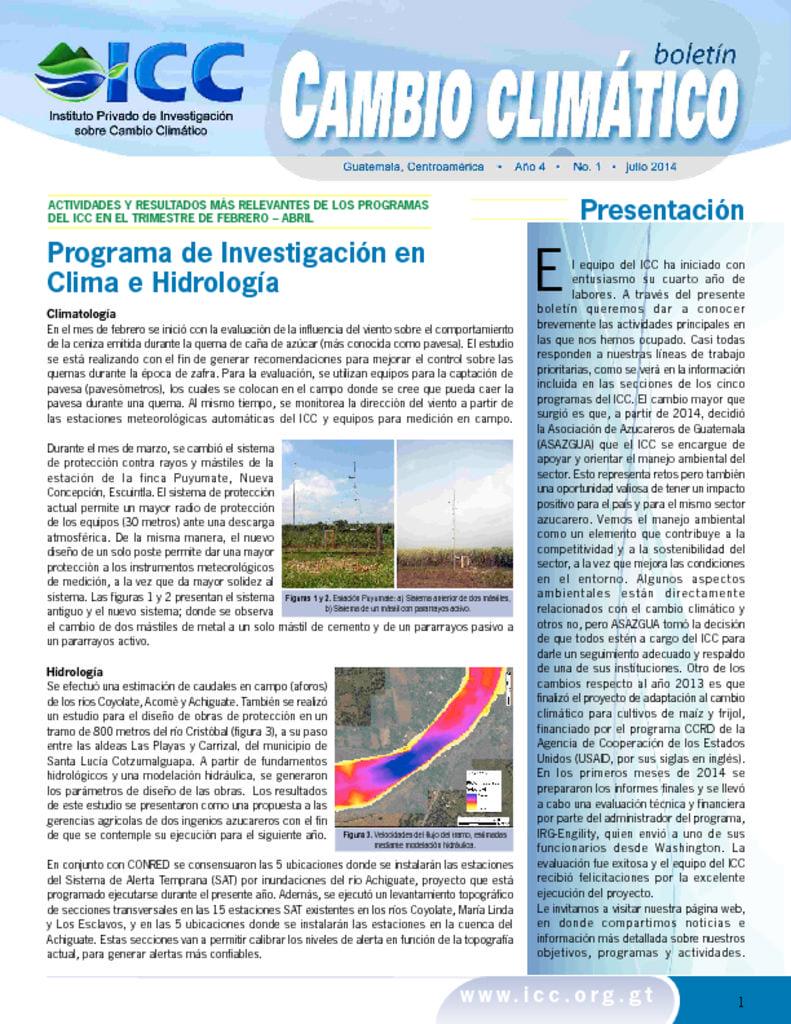 thumbnail of boletin cambio climatico 1 2014