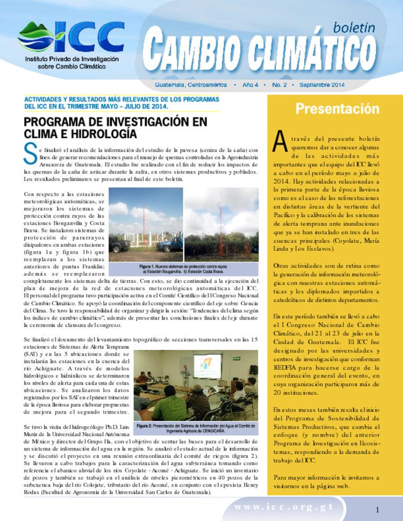 thumbnail of boletin cambio climatico 2 2014