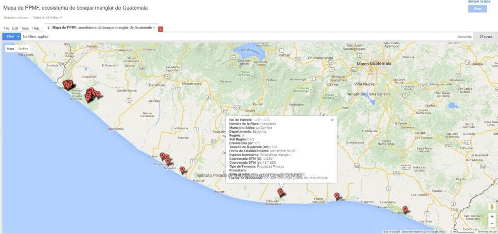 Mapa de ubicación de 37 ppmf portal INAB