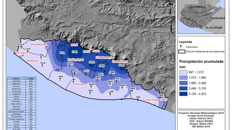 Precipitación anual acumulada durante 2018